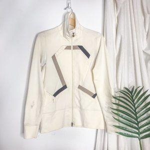 Lululemon In Stride Zip Up Jacket Off White Brown